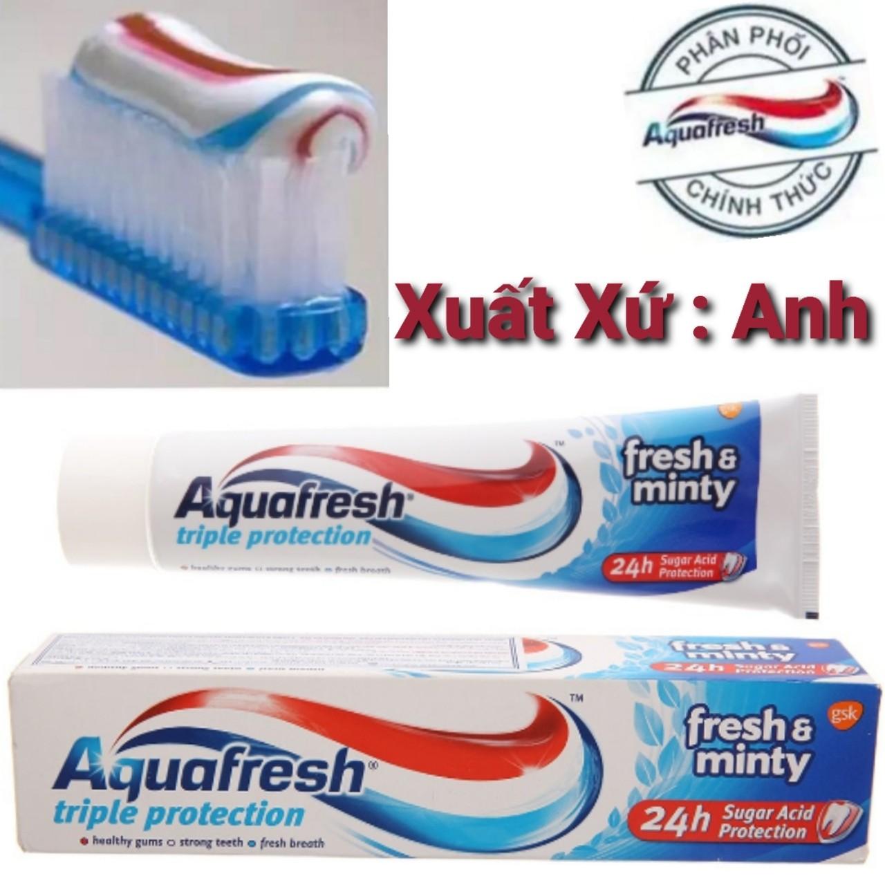 Kem đánh răng 3 tác động Aquafresh 100ml (Xuất xứ Anh) cao cấp