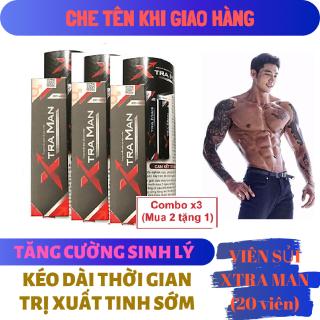 Combo x3 (Mua 2 tặng 1) Viên sủi XTRAMAN (hộp 20 viên) cao cấp tăng cường sinh lý nam mạnh mẽ - hàng chính hãng ( xtra man xtramen men ) thumbnail