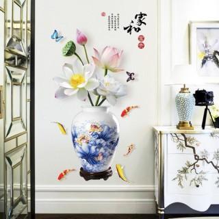 Decal dán tường hoa sen- bình sen xanh giữa hồ cá chép sang trọng- thumbnail