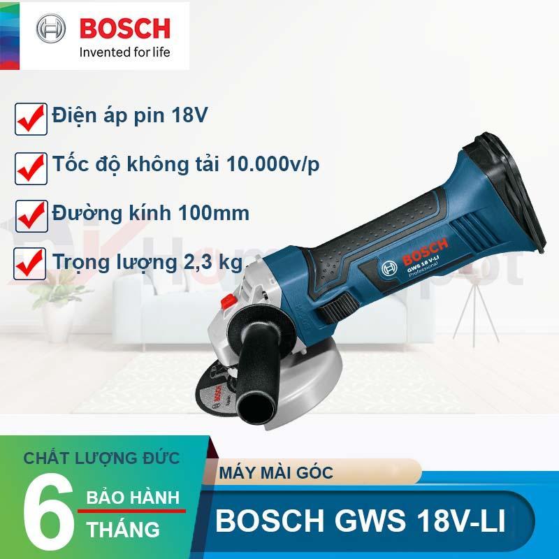 Máy mài cắt dùng Pin Bosch GWS 18V-LI Set Kèm Pin Sạc