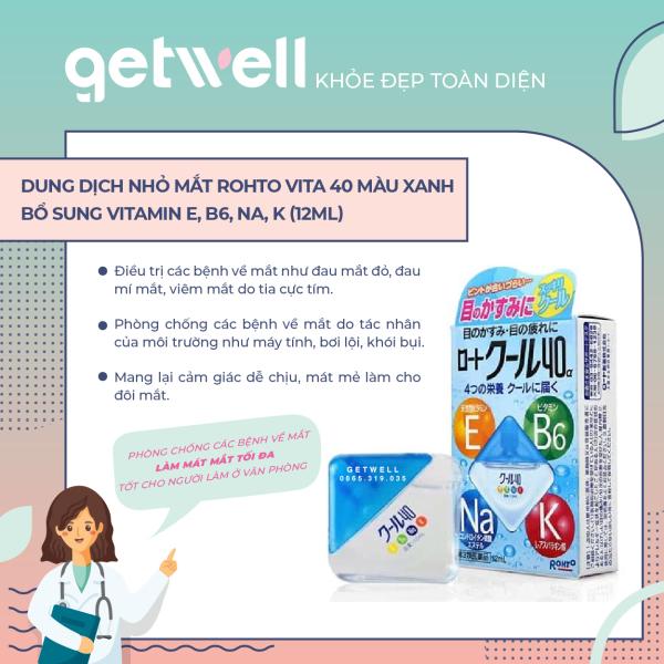 Dung Dịch nhỏ mắt Rohto Màu Xanh Vitamin 40α 12ml giá rẻ
