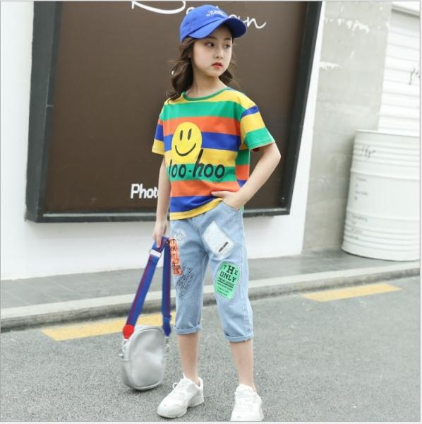 Giá bán Bộ quần bò lửng và áo thun sọc ngang cho bé từ gái từ 3 đến 14 tuổi - BL019