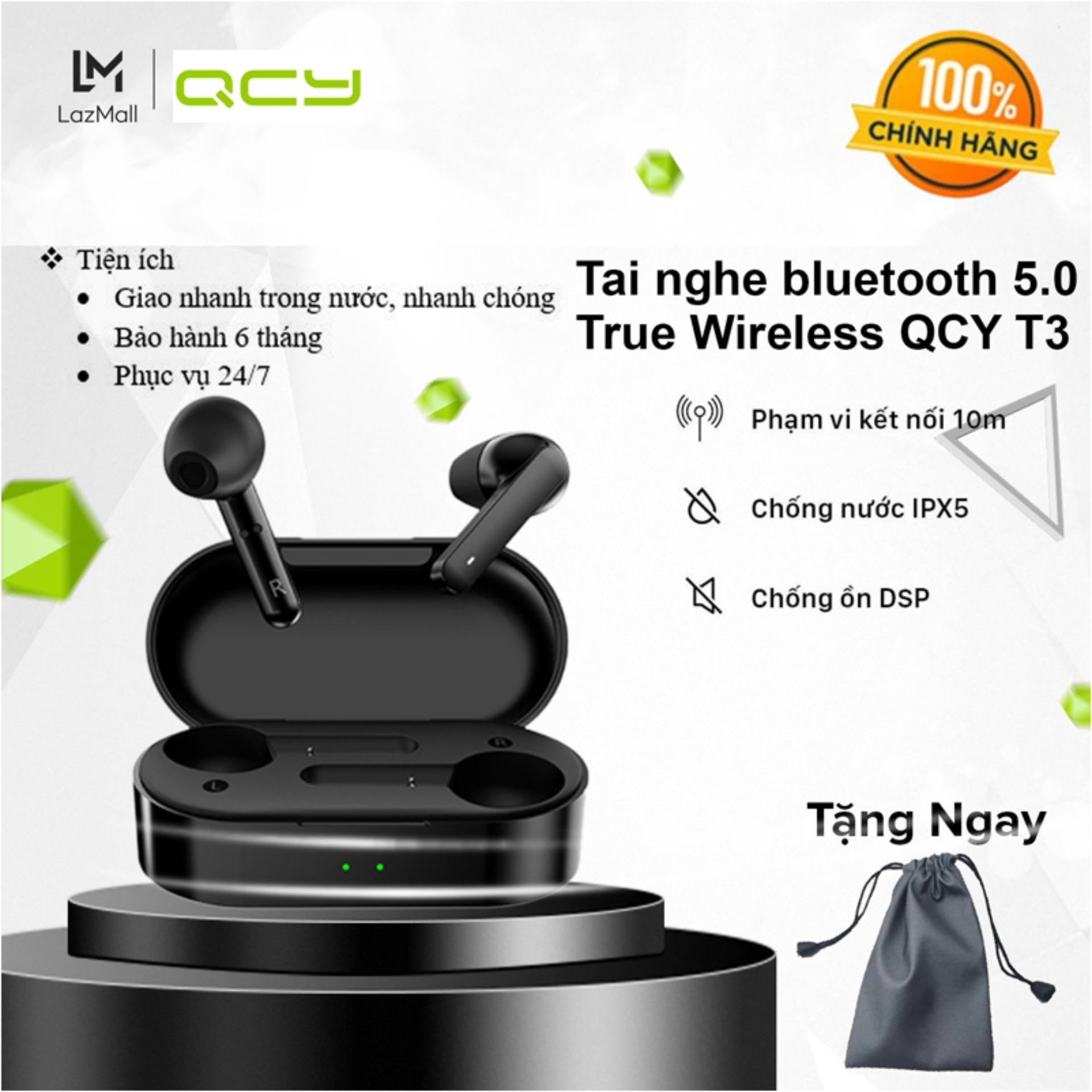 Tai Nghe Nhét Tai Bluetooth 5.0 True Wireless QCY T3 - Chống ồn DSP - IPX5 - Dock sạc 600...