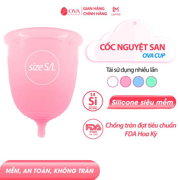 Cốc nguyệt san chính hãng Ovacup nhập khẩu Made In USA 100% Silicone y tế mềm chống rò rỉ đạt tiêu chuẩn FDA Hoa Kỳ (4 màu) giá rẻ