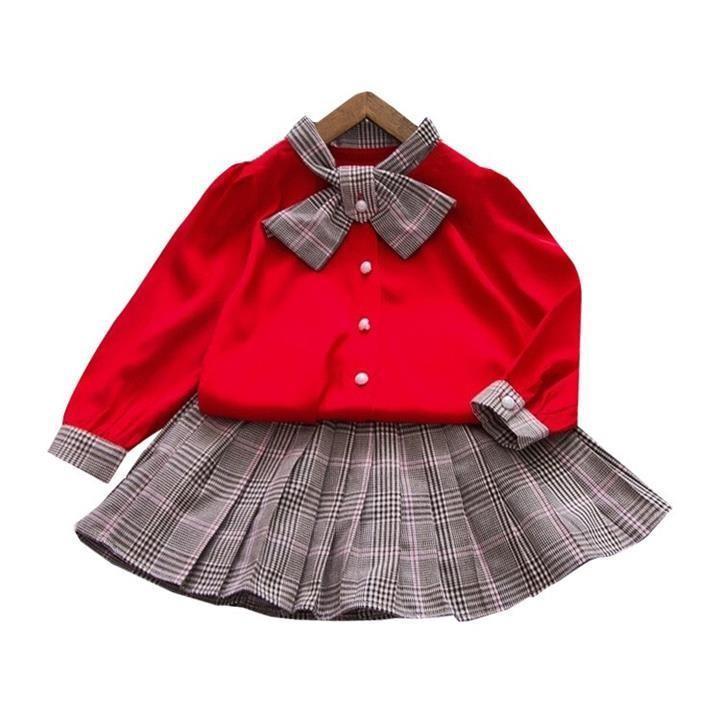 Giá bán SET áo váy cột nơ caro cho bé gái từ 1-5 tuổi