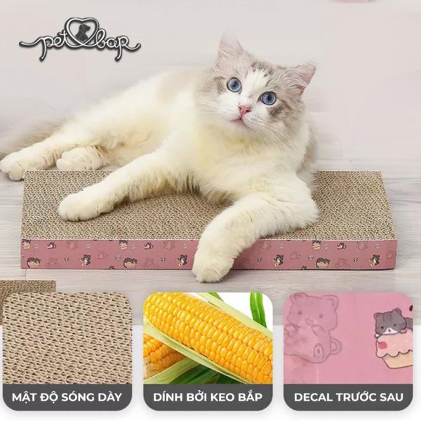 [TẶNG CATNIP] Bàn cào móng phẳng cho mèo giảm căng thẳng – Trụ cào móng mèo hình chữ nhật tặng kèm cỏ bạc hà Catnip