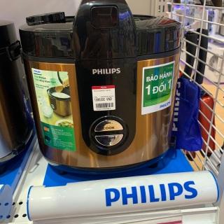 Nồi cơm điện Philips 2 lít HD3132 68 Vàng -Hàng trưng bày CHÍNH HÃNG Philips ,Lòng nồi hợp kim nhôm tráng lớp men gốm ProCeramic + chống dính bền tốt. Công nghệ 3D nấu cơm chín đều, chín ngon, giữ ấm lên đến 48 tiếng. thumbnail