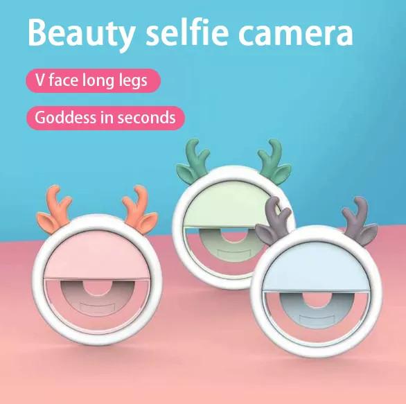 Đèn LED trợ sáng kẹp điện thoại chuyên dành cho selfie/livestream, ánh sáng trắng dịu nhẹ, có kèm gương soi rất tiện lợi, dung lượng pin lớn sử dụng liên tục, tạo hình thú siêu kute - thegioisilevip