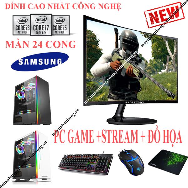 Bảng giá Bộ máy tính chơi game MỚI nhất i3 10100f (~i7 7700) màn 24 SamSung CONG mới full box 100%, Pc để bàn gaming chơi Pubg, Lol, CF, Fifa, Firefire... Phong Vũ