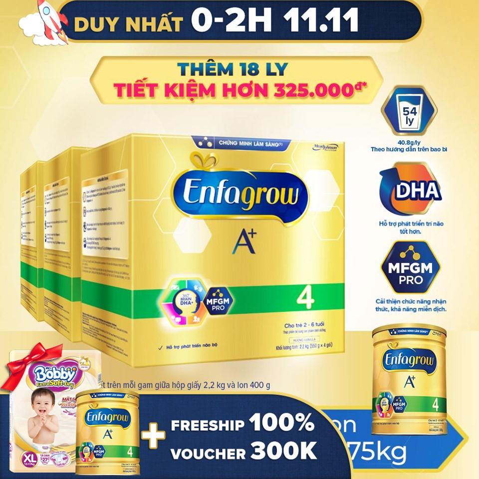 [FREESHIP TOÀN QUỐC]Bộ 3 hộp sữa bột Enfagrow 4 cho trẻ trên 2 tuổi 2.2kg - 4 túi thiếc 550g) - Tặng 1 lon Enfagrow 4 1.7kg