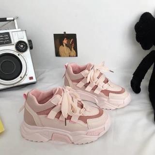 giầy thể thao nữ dây buộc bản to màu hồng thumbnail