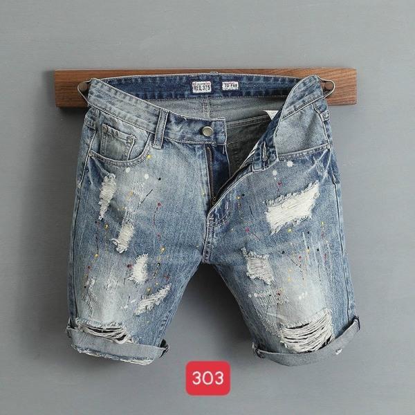 Nơi bán Quần short jean nam rách vảy sơn cao cấp vải denim co dãn mẫu hot 2021 Thời trang nam nữ Thiên Phúc e57