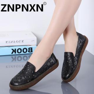ZNPNXN Giày Lười Đế Bằng Cho Nữ Giày Bệt Y Tá Thường Ngày Mùa Hè Giày Lười Da Nữ Cỡ 35-41