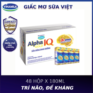 [TẶNG 2 Ly thủy tinh cao cấp Ocean]Thùng 48 hộp sữa bột pha sẵn Vinamilk Dielac Alpha Gold 180ml thumbnail