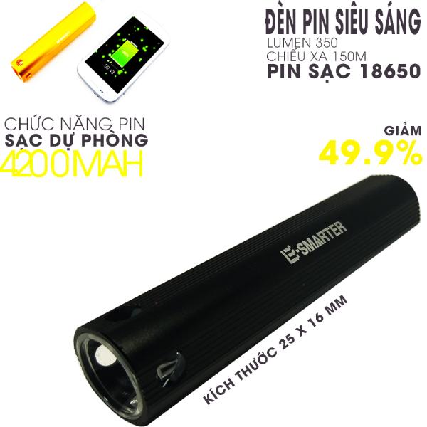 Bảng giá Đèn pin siêu sáng led Q5 ,vừa đèn pin kiêm PIN SẠC DỰ PHÒNG ,dung lượng pin 4200mah , pin sac 18650,tiện dụng mang theo bên mình phòng khi smarphone hết pin.