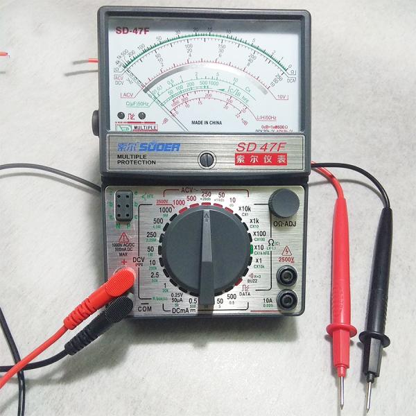 Đồng hồ vạn năng Suoer siêu chính xác hiện kim đo gồm 2 dây đo và pin