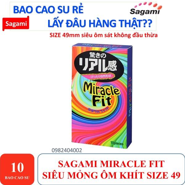 BAO CAO SU SIÊU MỎNG SIÊU ÔM KHÍT 360 SIZE NHỎ 49MM SAGAMI MIRACLE FIT HỘP 10 CHIẾC BAO CAO SU cao cấp