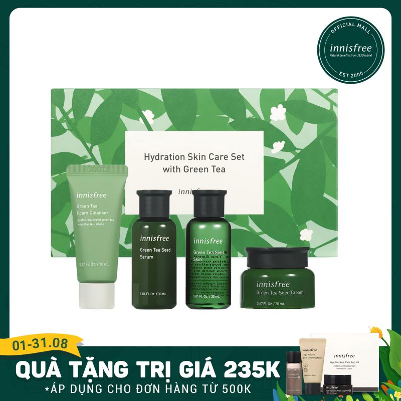 Bộ sản phẩm chăm sóc dưỡng ẩm da innisfree Hydration Skin Care Set with Green Tea giá rẻ