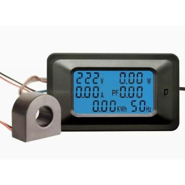 Công tơ điện tử,Thiết bị đo công suất 100A, đồng hồ điện tử hiển thị 6 thông số - Công suất (max 22,000 W) - Số điện (max 99999 KWh, lưu cả khi bị mất điện)