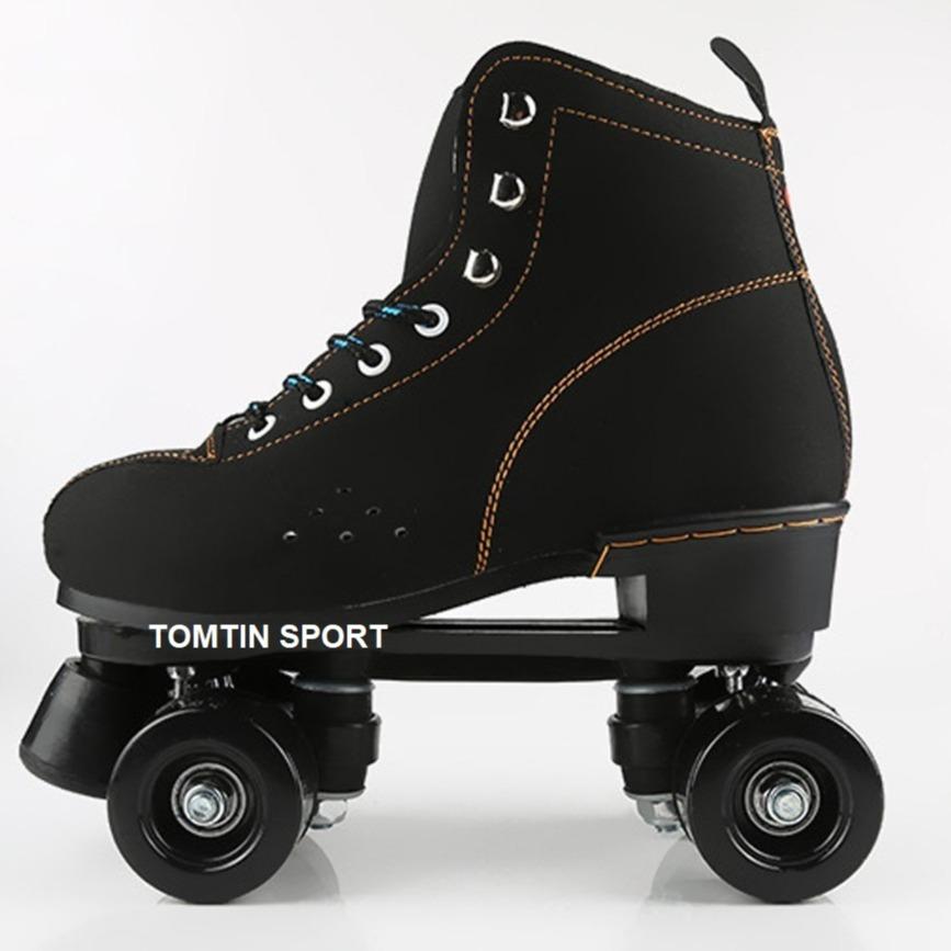 Mua Giày trượt patin người lớn 4 bánh 2 hàng có size từ 37-44, bốt Nỉ màu đen phù hợp cả nam và nữ, đi được ngay không sợ ngã [TOMTIN SPORT]