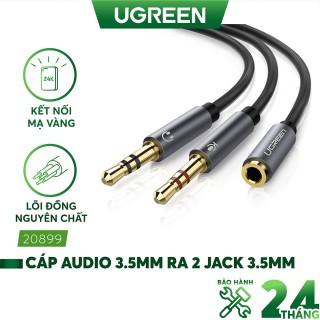 Dây Audio chuyển tai nghe 3.5mm sang 2 đầu Mic và Tai nghe dài 20CM UGREEN AV140 thumbnail