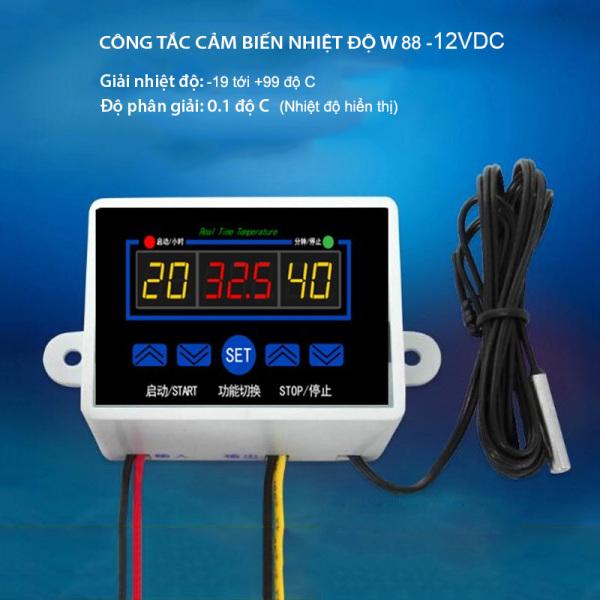 Công tắc cảm biến nhiệt độ W88 loại 12V hoặc 220V tùy chọn, 3 màn hình hiển thị nhiệt độ, đầu cảm biến rời chống nước