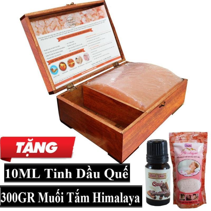 Hộp Đèn Đá Muối Himalaya Mặt Cong Massage + Tặng 10ml Tinh Dầu Quế + 300gr Muối Tắm Himalaya