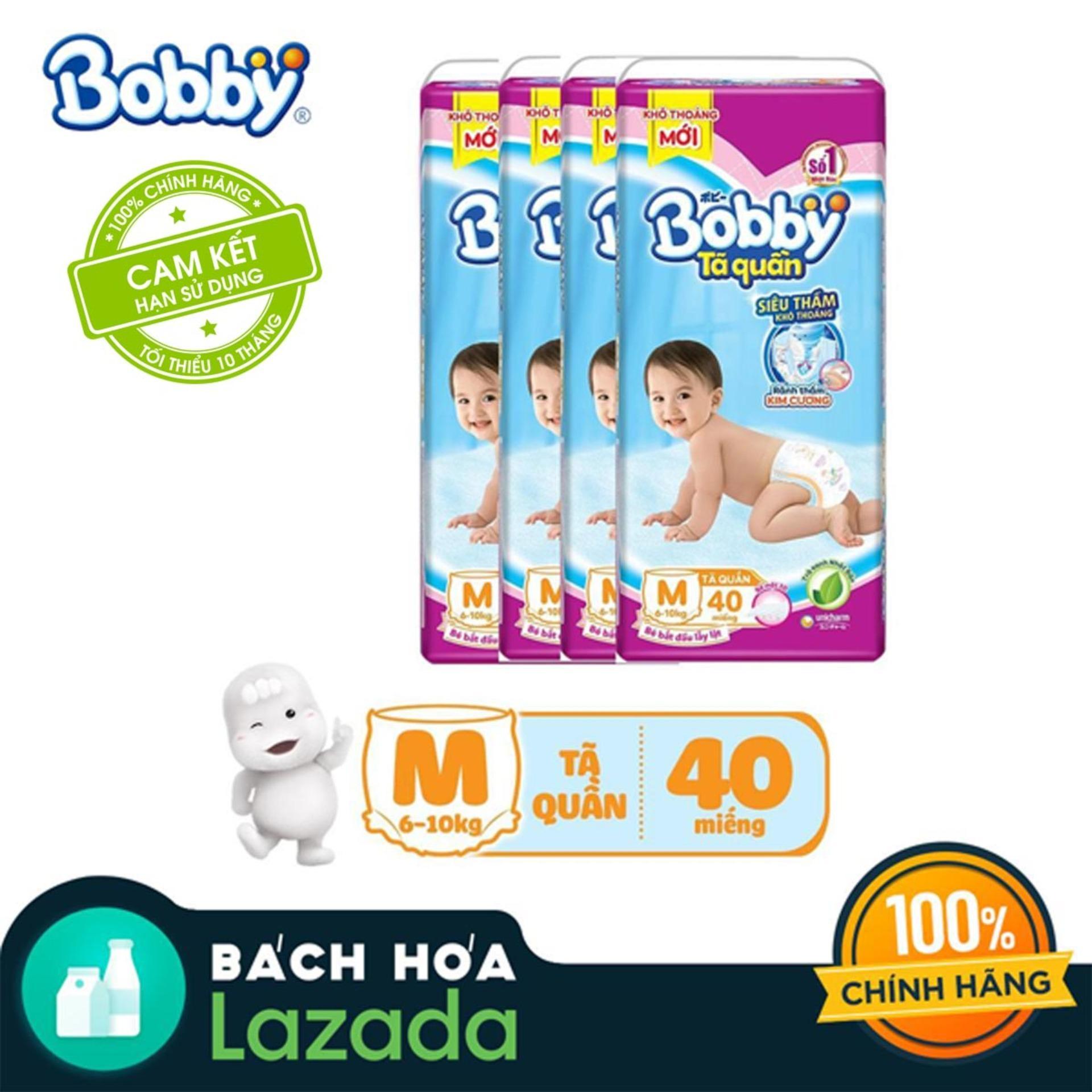 Bộ 4 Tã/bỉm quần Bobby Siêu thấm M40 (6-10kg)
