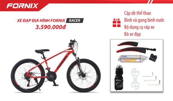 Mua Xe đạp địa hình Fornix Racer (Kèm bộ dụng cụ lắp ráp)+ Tặng Cặp dè thể thao, Bình và gọng bình nước, Pô xe