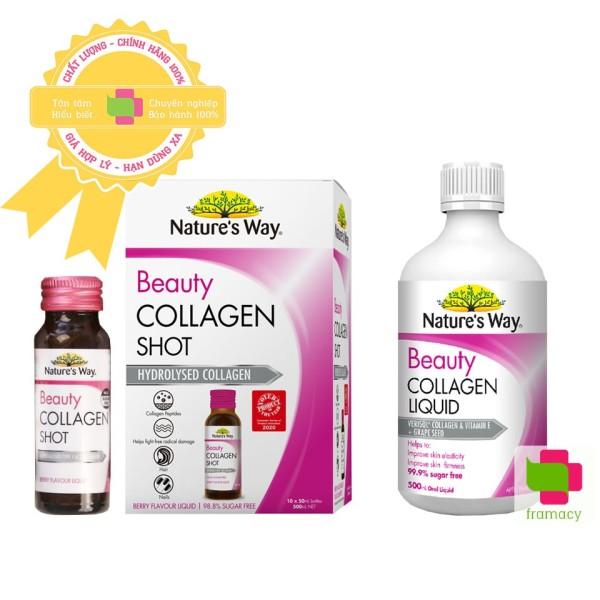 Natures Way Beauty Collagen Shot thủy phân (10x50ml)/Collagen Liquid dạng nước (500ml), Úc có hạt nho và vitamin E - Collagen Shot