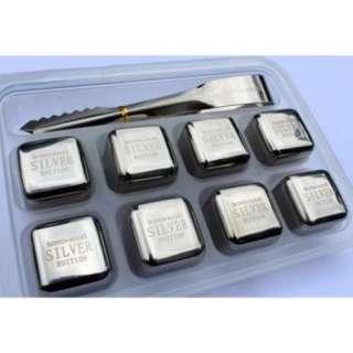 Đá INOX304 lạnh vĩnh cửu - Cooling Cubes 8 viên SSGP + Kèm Kẹp( Bạc )