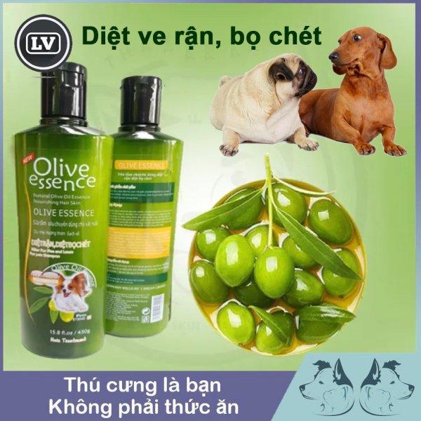 Sữa tắm chó tinh dầu ô liu OLIVE diệt ve rận, bọ chét - Dầu tắm chó mèo 450ml