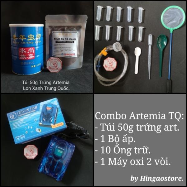 Combo 3: 50g Trứng Artemia Lon Xanh TQ + Bộ Ấp + 10 Ống Trữ (tùy chọn) + Máy Oxi 2 vòi - Thức ăn cá cảnh Hingaostore.