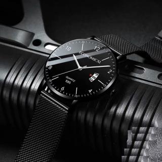 Đồng hồ nam ECONOMICXI day thép lụa đen chạy lịch ngày cao cấp ECNI06 thumbnail