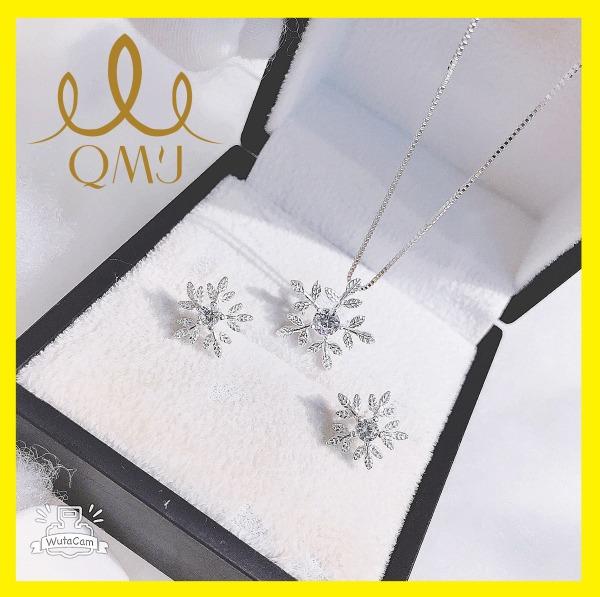 Bộ bạc xinh QMJ Hoa tuyết xinh lung linh, nạm đá tấm lấp lánh thiết kế sang chảnh [CHUẨN BẠC] QB014