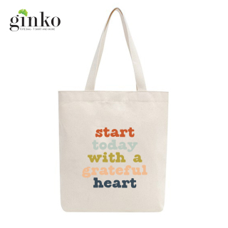 Túi tote vải GINKO dây kéo in hình START TODAY WITH A GRATEFUL HEART M36 thumbnail