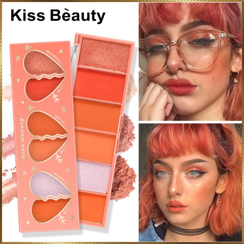 Bảng má hồng kiêm bóng mắt Kiss Beauty 6 ô màu MKB6