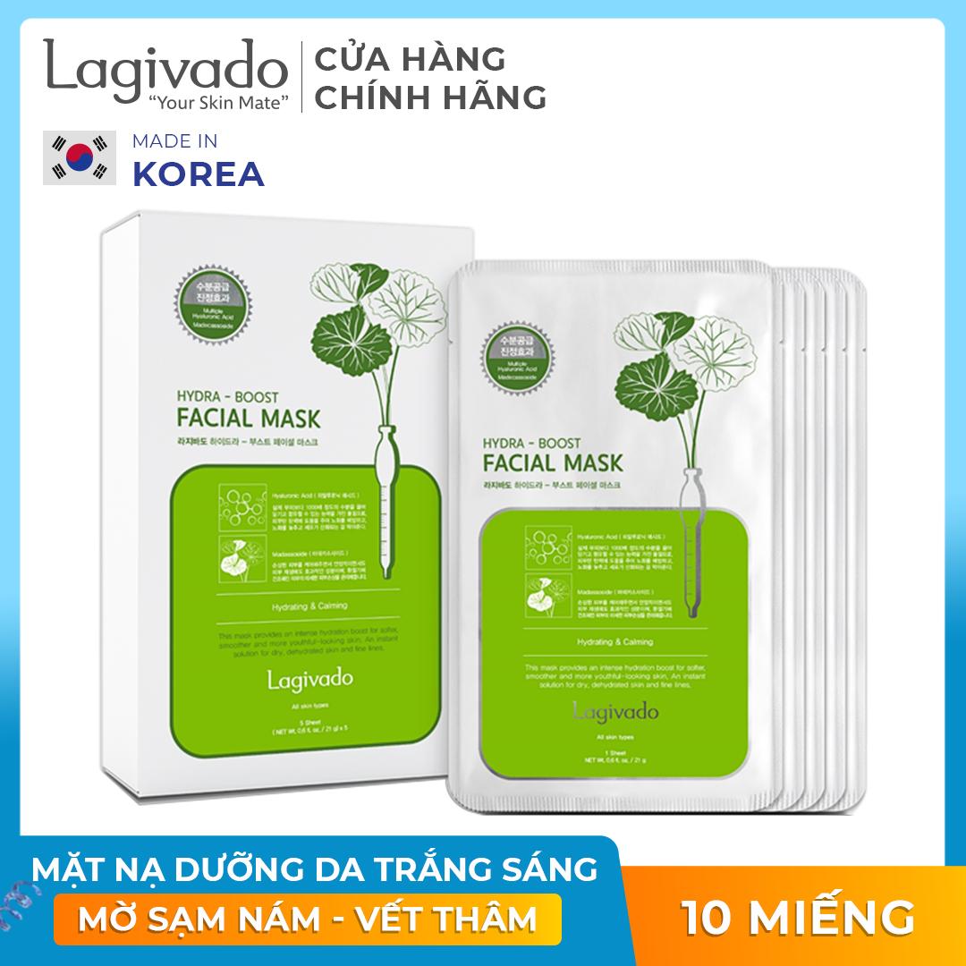 Combo 10 mặt nạ dưỡng da siêu dưỡng ẩm, làm dịu da cho làn da căng bóng và mềm mịn Hàn Quốc Lagivado Hydra Calming Facial Mask dạng giấy