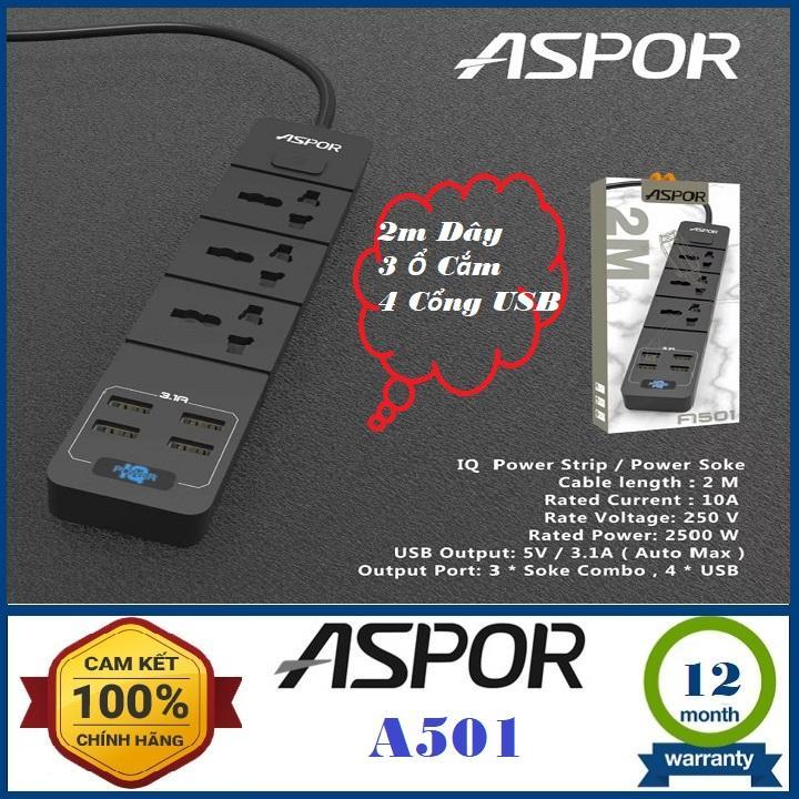 [Ổ cắm điện]Ổ cắm điện đa năng thông minh có cổng USB sạc nhanh 3.1A An toàn chống giật-Ổ cắm điện đa năng 3 phích cắm 4 cổng USB-Ổ cắm điện usb Aspor A501 EU(Nhiều màu)