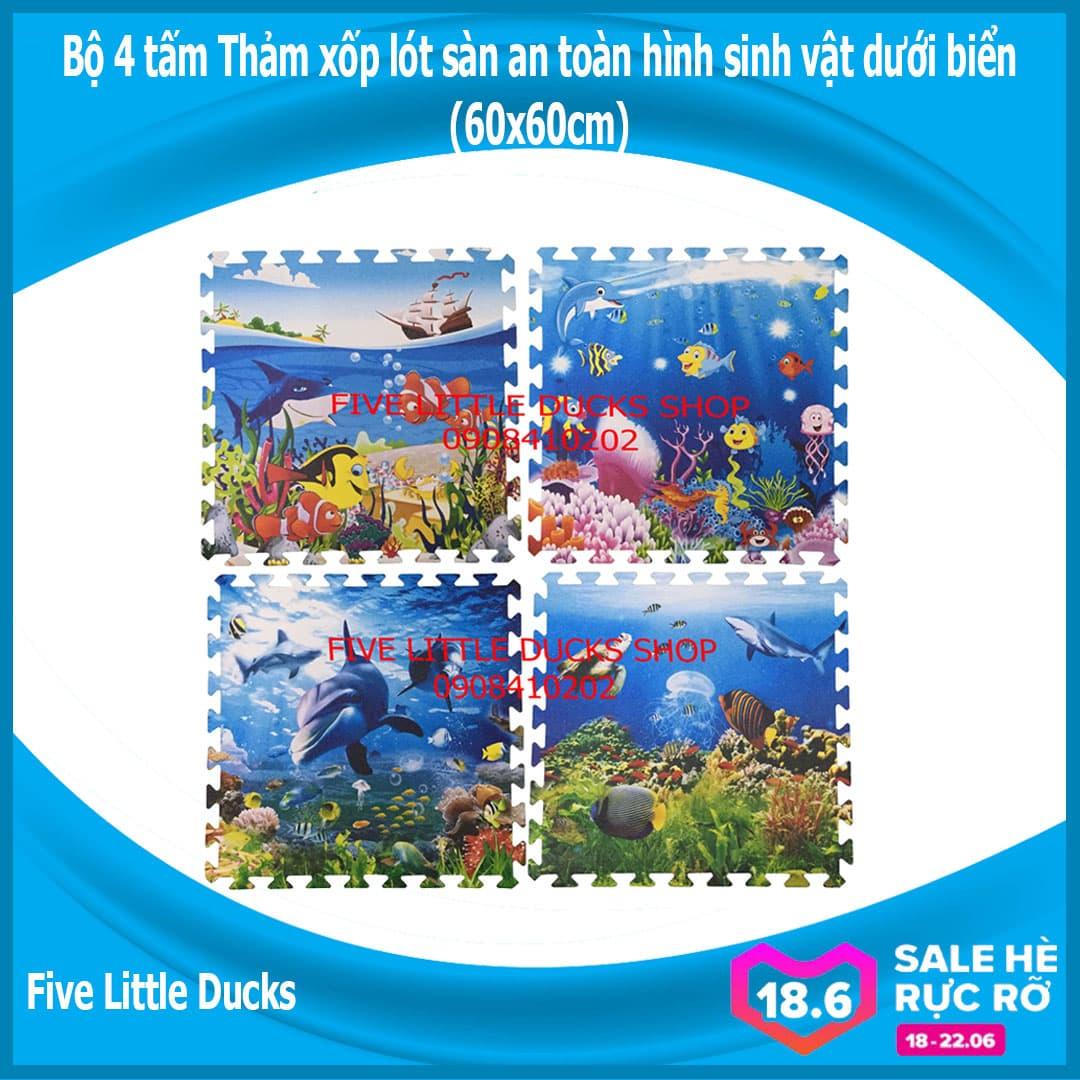 Offer Giảm Giá Bộ 4 Tấm Thảm Xốp Lót Sàn An Toàn Cho Bé Hình Sinh Vật Dưới Biển (60x60cm) - Xuất Xứ: Việt Nam