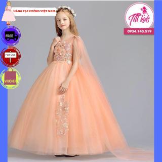 Đầm bé gái TITIKIDS vàng ánh kim đẹp lộng lẫy (Vàng) - Đầm bé gái cực xinh cho bé đi chơi - Đầm công cho bé gái - Đầm tại xưởng
