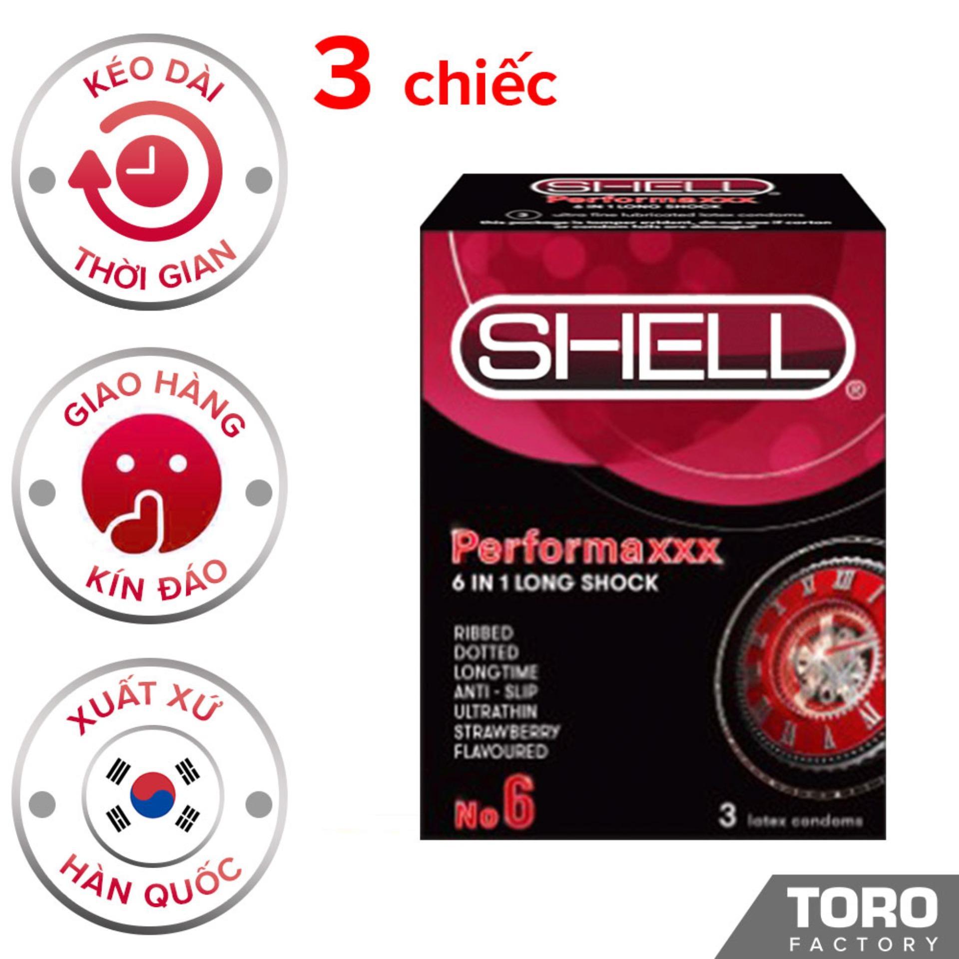 Bao Cao Su cao cấp Hàn Quốc Shell Premium 6 In 1 - Bao cao su kéo dài thời gian , gân gai li ti , trị xuất tinh sớm,bao cao su chính hãng - ( 3 chiếc) - [TORO] nhập khẩu