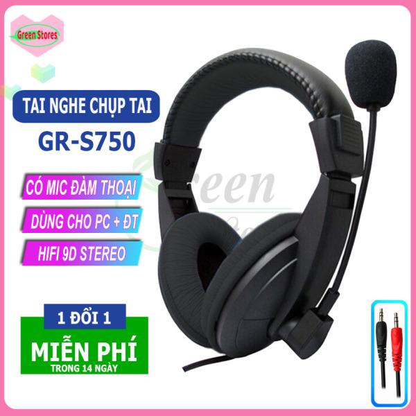 Bảng giá [SIÊU HOT]- Tai nghe chụp tai có mic GR-S750 cao cấp, Tai nghe gaming chân 3.5mm âm thanh vòm dùng cho PC, laptop,điện thoại, tai nghe học trực tuyến, cho quán Internet, loa siêu trầm extrabass[GREEN STORE] Phong Vũ