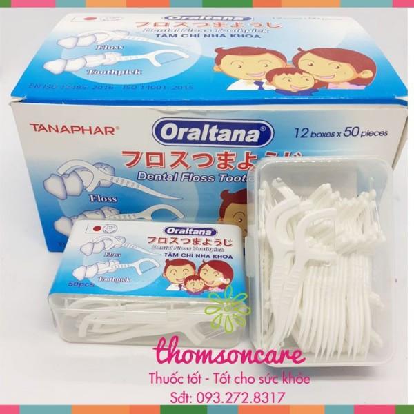 Tăm chỉ nha khoa Oraltana - Hộp 50 cái Xuất Nhật giá rẻ
