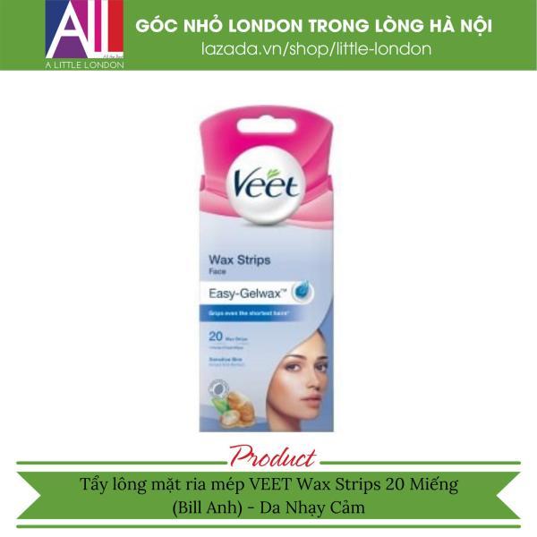 Tẩy lông mặt ria mép da nhạy cảm VEET Wax Strips 40 Miếng (Bill Anh)
