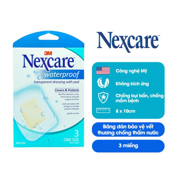Băng dán bảo vệ vết thương có gạc Nexcare 3M B100 chống thấm nước 8x10cm gói 3 miếng