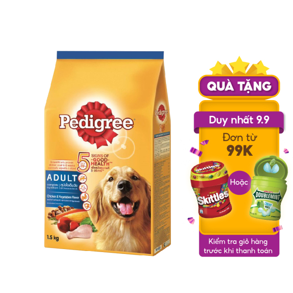 Thức ăn cho chó lớn dạng hạt Pedigree vị gà & rau củ dạng túi 1.5kg
