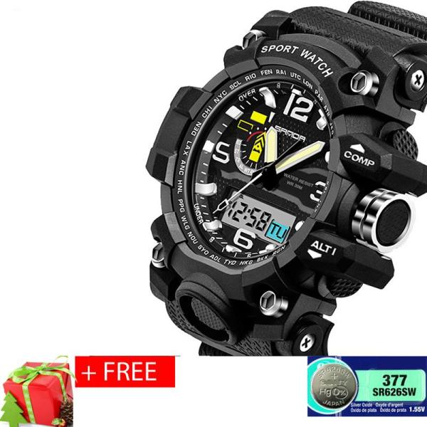 Đồng hồ thể thao nam chống nước SANDA, dây silicone S2 + Tặng pin đồng hồ dự phòng bán chạy