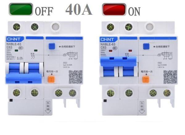 Cầu dao chống giật 2P 40A/63A CHINT aptomat chống giật mcb chống giật át chống giật