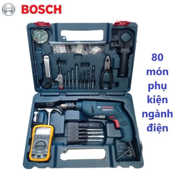 Máy khoan động lực 550W GSB 550 (bộ set valy nhựa 80 món phụ kiện ngành điện) - Bosch Chính hãng- khoan Bê tông, khoan gỗ, thép, khối xây nể